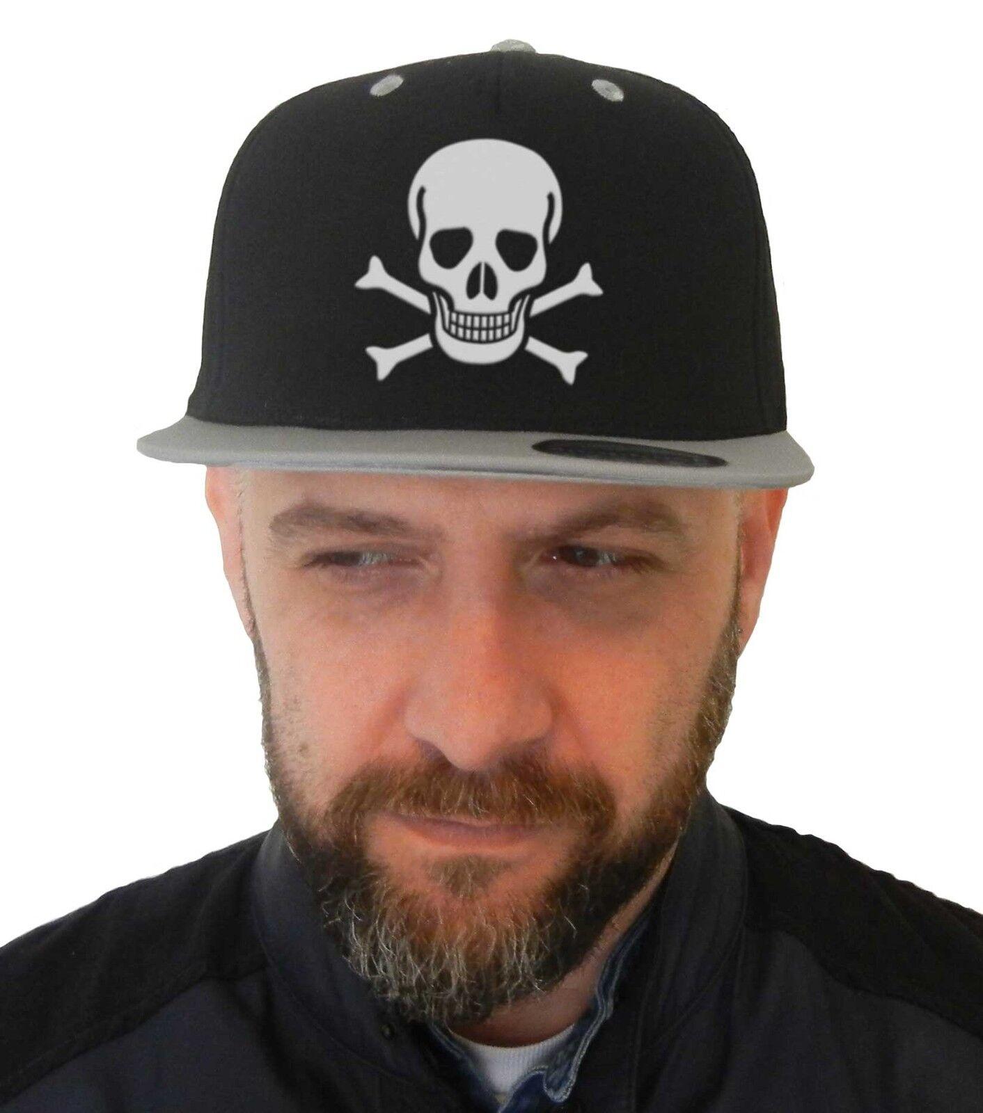 Hut Schädel, Snapback Cap Schwarz Mit Visier Grau, Logo Schädel, Piraten