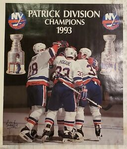 New-York-Islanders-Bryan-Trottier-Autographed-Poster-1993-Patrick-Division-Champ