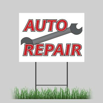 """12""""x18"""" Auto Repair Service Yard Sign with Stake Outdoor ..."""