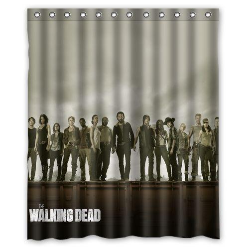 Hot Design Custom The Walking Dead Waterproof Fabric Shower Curtain 60x72