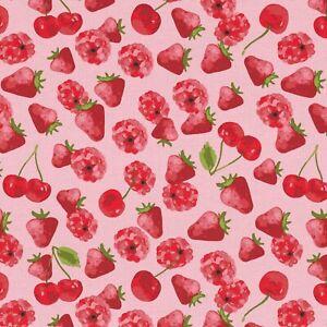 Dekostoff-bedruckt-Otto-B-amp-B-Fabrics-Erdbeeren-Rosa-140-cm