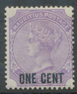 MAURITIUS-1893-QV-with-black-overprint-of-the-new-value-ONE-CENT-on-2-C-violet