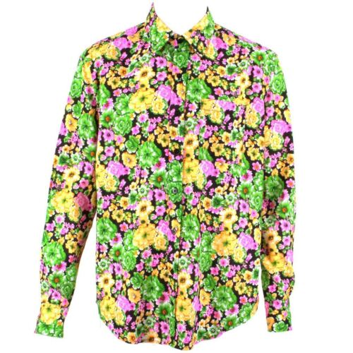 Regular Mens Shirt Funky Retro Loud Party Green Festival Floral Psychedelic a1BUzArca