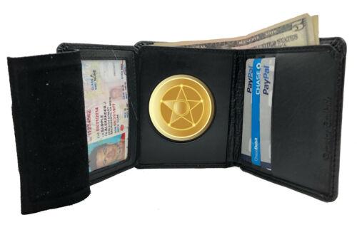 Men/'s Leather Concealed Carry Badge Wallet Round Shield Holder U.S Seller