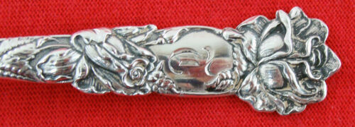 """BRIDAL ROSE by Alvin Sterling Silver VINTAGE Coffee Spoon 5 1//4/"""" Mono"""
