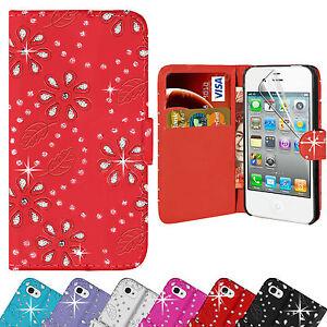 ornamento-DIAMANTE-pelle-custodia-cover-a-portafoglio-per-Apple-iPhone-5-5S