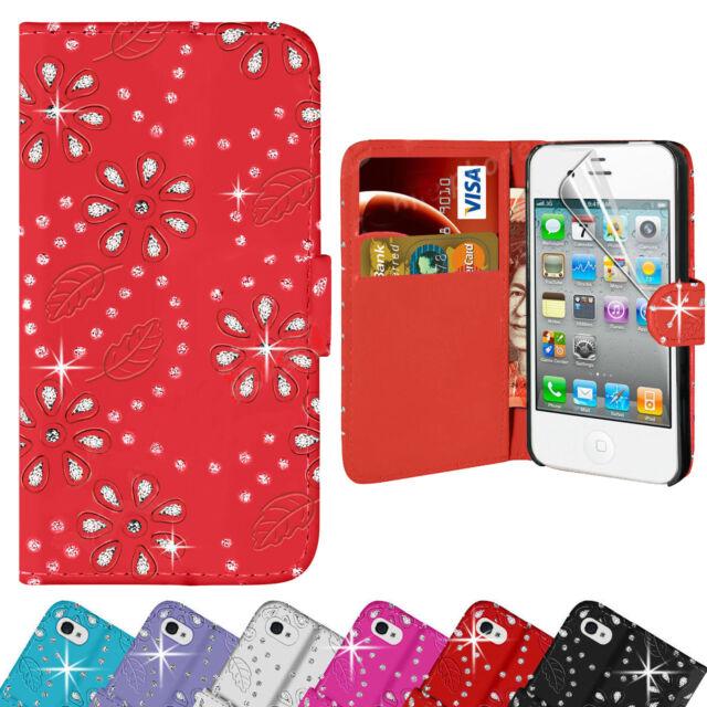 Ornamento Diamante pelle Custodia Cover a Portafoglio per Apple Iphone 5 5s 5c