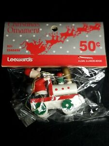 Vintage-Leewards-Santa-On-Train-Christmas-Ornament-New-In-Original-Unopened