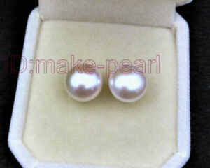 Match 10mm AAA+ Grade Bread White South Sea Pearl Stud Earring Solid White Gold