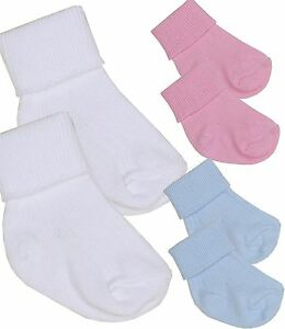 BabyPrem 2 Pairs of Premature Tiny Baby Boys Girls Cotton Socks White Blue  Pink 474aa07ecac