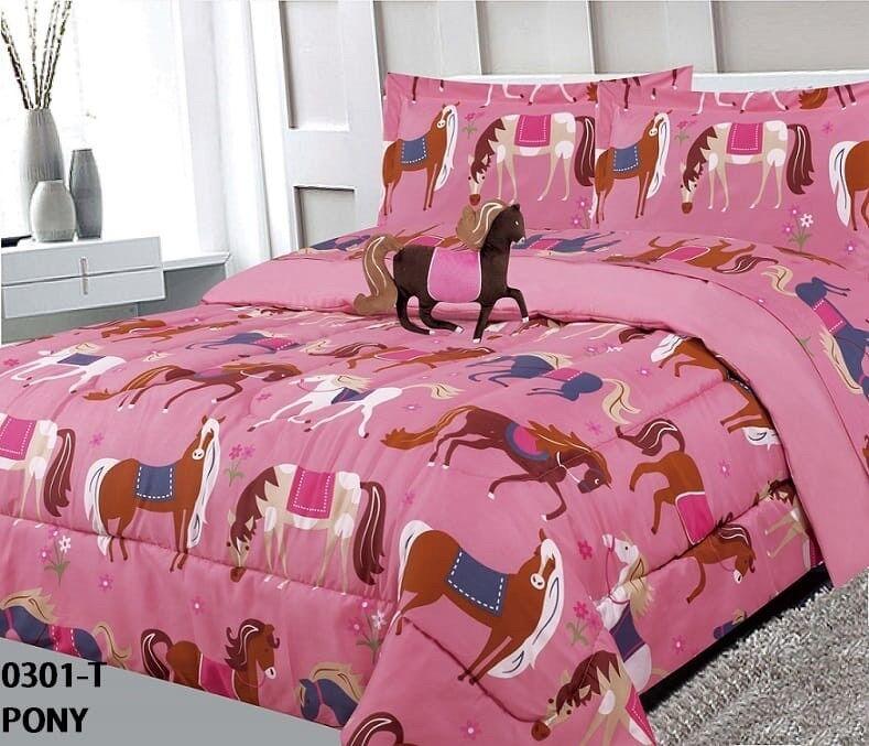 Petit chevaux Enfants Filles Duvet Set Sheet Set et rideaux 10PCS Full Taille