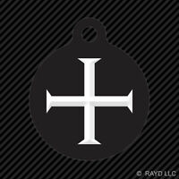 Knights Templar Keychain Round With Tab Dog Engraved Many Colors Knight Shield