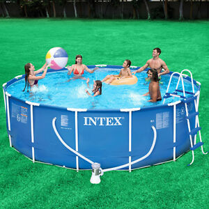 Intex 15 39 x 48 metal frame swimming pool 1000 gfci pump for Intex pool handler