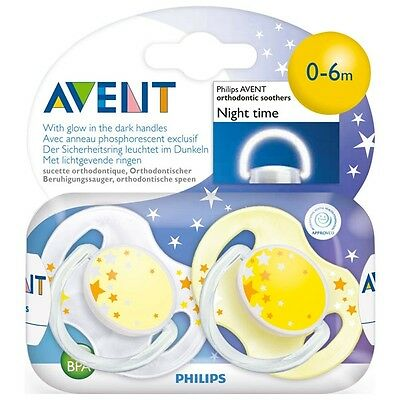Avent - 0-6 Month Yellow Night Time Soothers / Dummies - Brand New