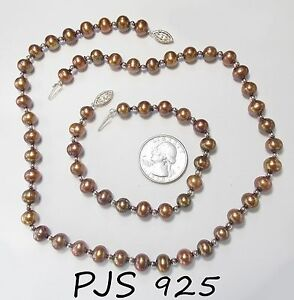 Image Is Loading Signed Pjs 925 Sterling Silver Chocolate Pearl Necklace