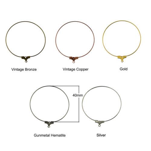 40X Hoop Ear Wire Earring Charms 40mm DIY Loop Jewelry Making Findings