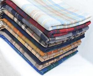 Classic Wool Blanket Throw Rug In Tartan Check Plaid