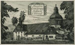 A.KUNST(*1882), Ansicht der Kirche St. Wolfgang in Stockheim, um 1930, Radierung