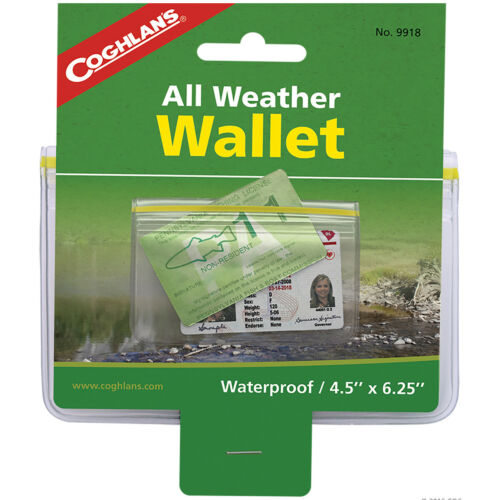 Waterproof Protection with Zip Lock Closure Coghlan/'s All-Weather Wallet