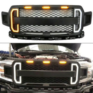 Front-Grill-Grille-Raptor-Style-for-Ford-F150-F-150-2018-2019-Amber-LED-Light