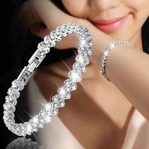 Luxury-Women-Chain-Zircon-Crystal-Bangle-Rhinestone-Bracelet-Wedding-Jewellery