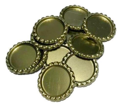 10 pcs Gold flattened bottle caps