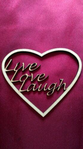 5 X Live Love Laugh Madera Corazón Forma Artesanía Adornos 0075
