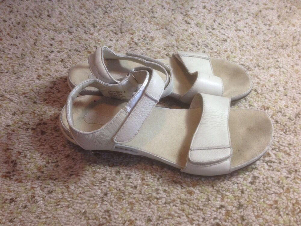 Womens Rockport Tan Leather Slide Wedge Sandals Size 9 M Ked