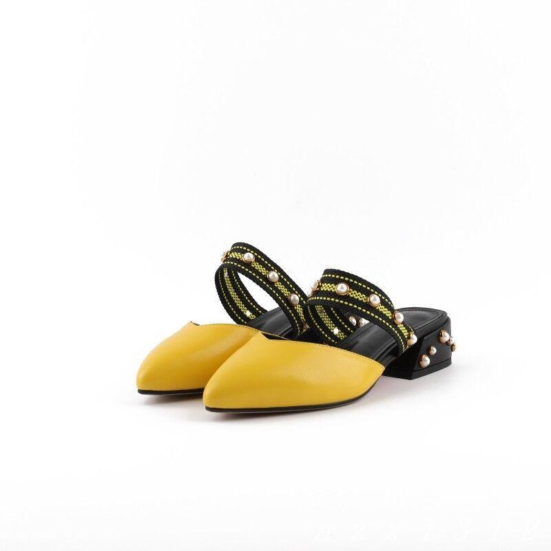 Grano de PUNTERA MUJER PUNTERA de PUNTIAGUDA SIN CORDONES Charol Zapato De Medio Bloque Talón Fiesta Zapatilla Sandalia ab637f