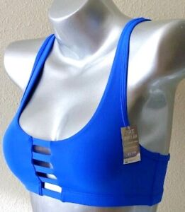 NWT Victorias Secret PINK Ultimate Strappy Cage Back Sport Bra Blue XS