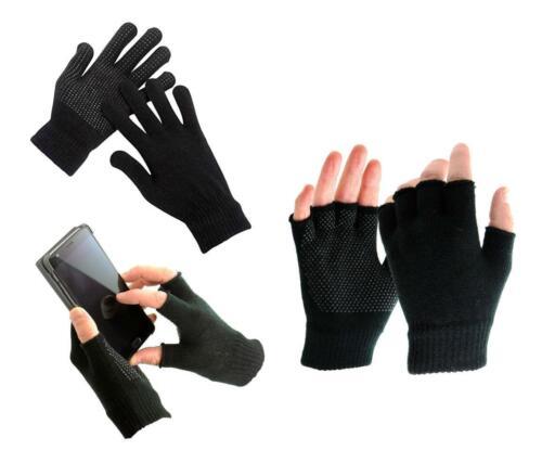 1pr//2prs Handy Gripper Woolen safety Gloves Half or Full Finger Black Unisex