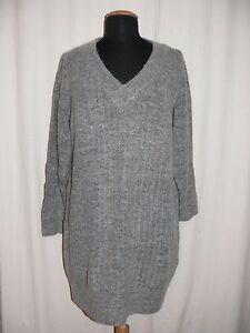 ONLY-V-Ausschnitt-Pullover-TRUST-DEEP-V-NECK-DRESS-KNIT-grau-XL-TOP