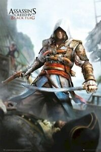 Assassin S Creed Iv Edward Kenway W Sword 24x36 Video Game