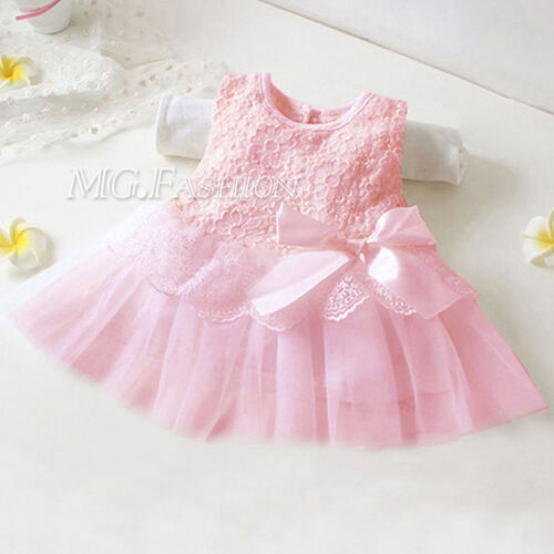 Baby Girls Newborn Infant Princess Party Wedding Lace Flower Tulle Short Dress
