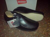 Clarks Original Wallabees Shoe Premium Black Leather Uk 8.5