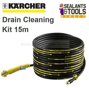 Karcher Drain Pipe Cleaning Pressure Washer Kit 15m Self