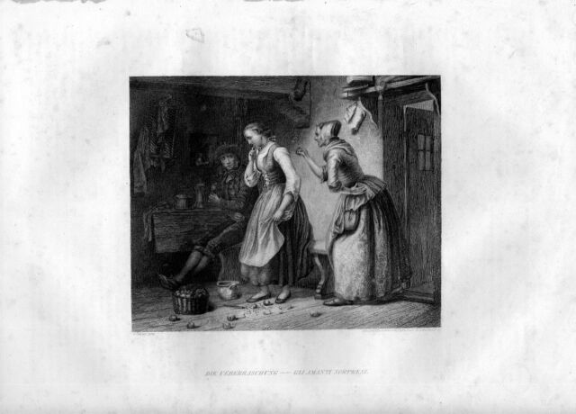 Stampa antica GLI AMANTI SORPRESI 1852 Old Print Engraving