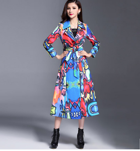 Slim Floral Ol Outwear Veste Imprimé Us Trench Col Florale Femme Outwear wYRdA7q