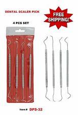 Double Ended Dental Scaler Pick Probes Set Carbon Steel Tools 4 Pcs Set