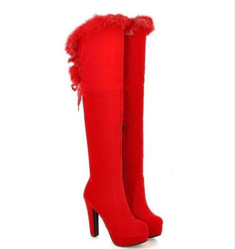 Chic Femme hiver chaud au-dessus du genou bottes en fourrure synthétique Chunky Talons Hauts Chaussures fashion