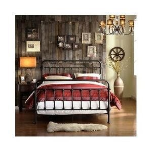 image is loading queen size bed vintage antique iron victorian metal - Vintage Iron Bed Frames