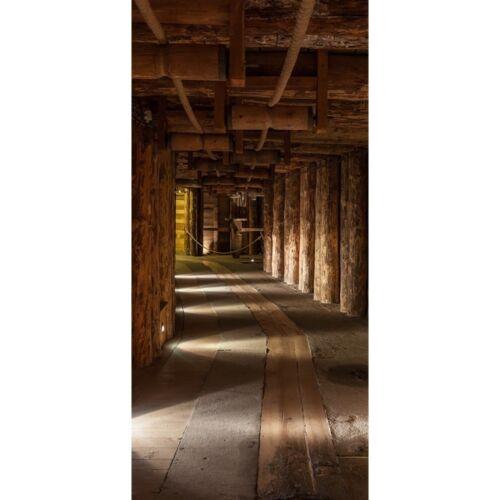 "100x211 cm Tür Fototapete /""Salt Mine/"" Salzbergwerk braun Holz Bergwerk rusti"