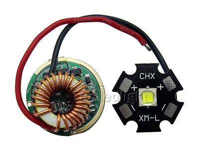 Cree XM-L2 XML2 Led Driver + XM-L2 White 6500K Led Chip Light 20MM DIY