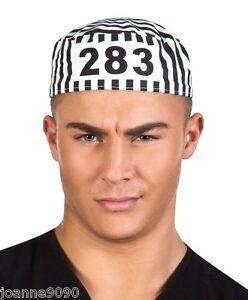 Adult-Mens-Stag-Night-Party-Convict-Prisoner-Robber-Fancy-Dress-Costume-Cap-Hat