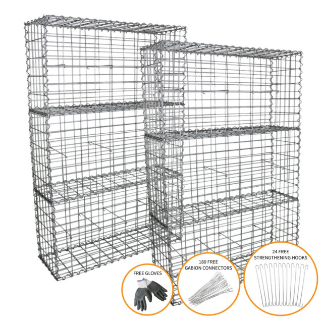 Gabion Baskets Garden Mesh Outdoor Cages Wire Stone 100 X 50 X 30cm 6 Pack For Sale Online Ebay
