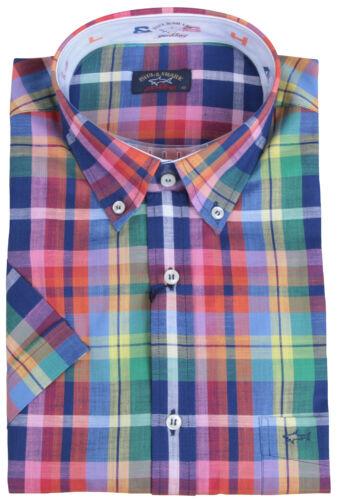 "PAUL /& SHARK YACHTING Herren Kurzarm Hemd Shirt Größe 42 16.5/"" Kariert"