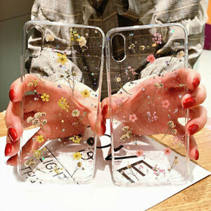 HOT-Flowers-Pressed-Phone-Case-Cover-For-iPhone-11-Pro-Max-XS-MAX-XR-Transparent