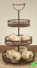 "RUSTIC 3 tier tiered wire METAL STORAGE STAND BASKETS fruit bins stand- 21"" Tall"