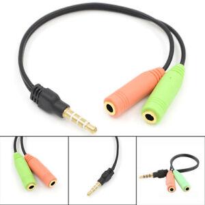 Audio-Headset-Klinken-Adapter-Split-4-polig-3-5-mm-Buchse-auf-2x-3-5mm-Stecker