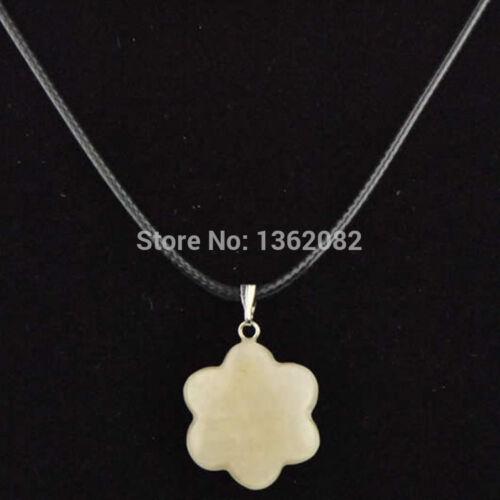 Wholesa Fashion Jewelry 12pcs Natural Stone Flower Pendant Necklace Gift 20*20mm